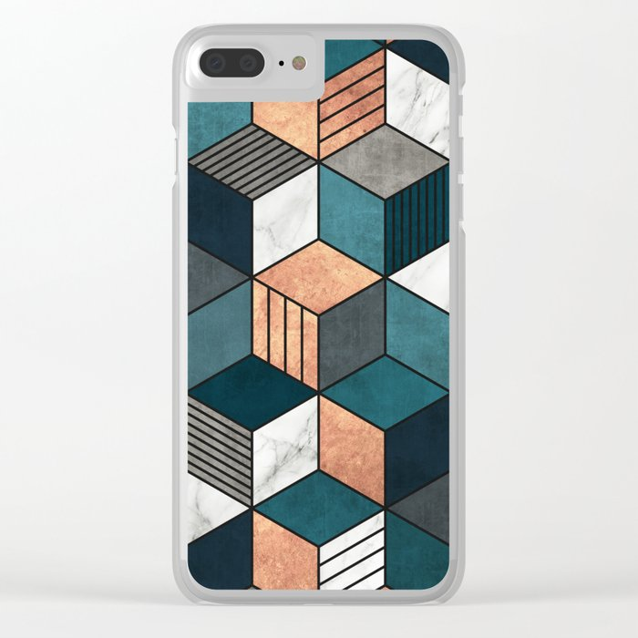 Copper, Marble and Concrete Cubes 2 with Blue Clear iPhone Case