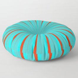 SPARKLE NEON AQUA TURQUOISE RED circle rays beams triangles Angelis Floor Pillow