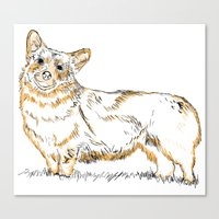 corgi Canvas Prints featuring Corgi!!!! by katieWalkerDesigns