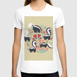 Cute Gang of Skunks Playing in the Garden T-shirt