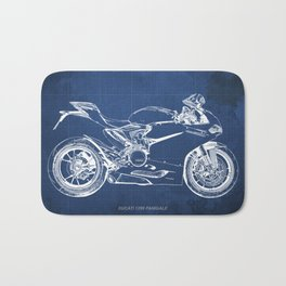 Blueprint, Superbike 1299 Panigale, 2015,brown background, gift for men, classic bike Bath Mat