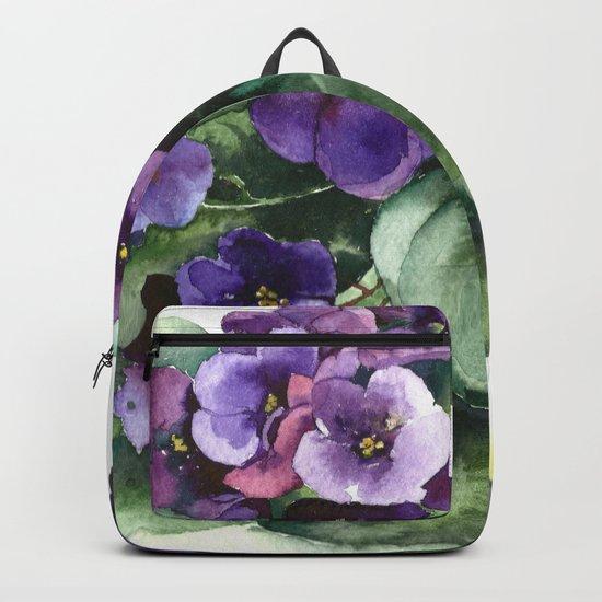 Senpolia viola violet flowers watercolor Backpack