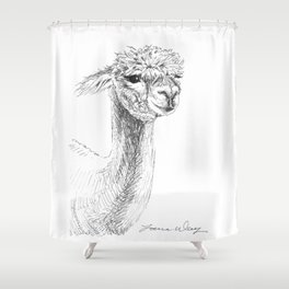 Alpaca Drawing Shower Curtain