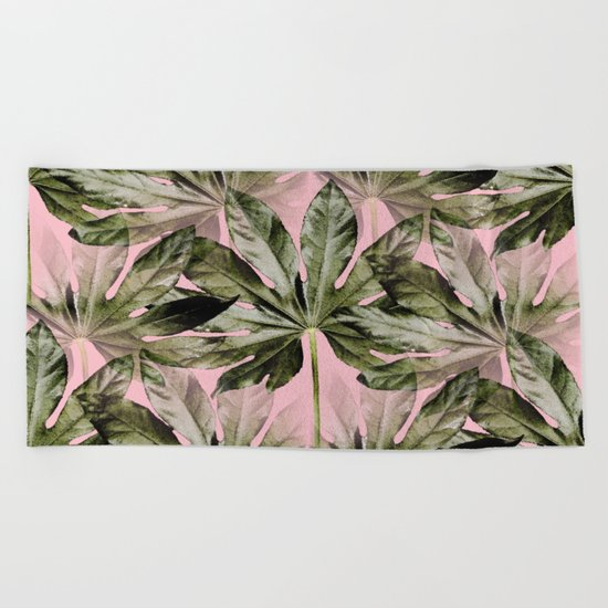 Large green leaves on a pink background - beautiful colors Beach Towel