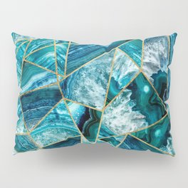 Turquoise Navy Blue Agate Black Gold Geometric Triangles Pillow Sham