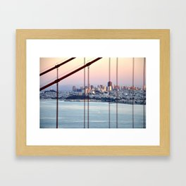 SAN FRANCISCO & GOLDEN GATE BRIDGE AT SUNSET Framed Art Print
