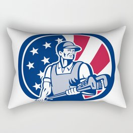 American Plumber and Pipefitter USA Flag Icon Rectangular Pillow
