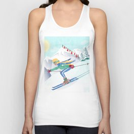 Skiing Girl Unisex Tank Top