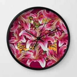 BURGUNDY GARDEN ASIAN LILY FLOWERS FLORAL ART Wall Clock