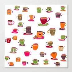 Coffee Cup Green & Orange Canvas Print
