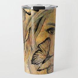 Remain Sedate (butterfly girl street art portrait) Travel Mug