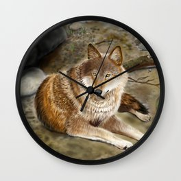 Wolf by the Riverbed Wall Clock