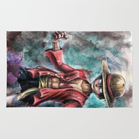 luffy Area & Throw Rugs featuring The King of Pirates a Tra-Digital Portrait by Barrett Biggers
