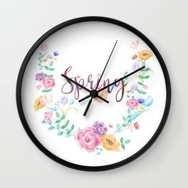Watercolor Spring Floral Wreath Wall Clock