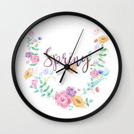 Watercolor Spring Floral Wreath Wall Clock