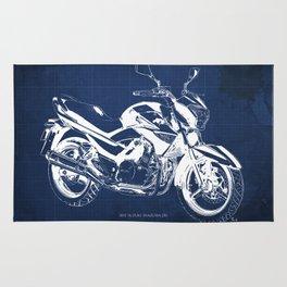 Motorcycle blueprint, 2012 Suzuki Inazuma 250, japanese bike Rug