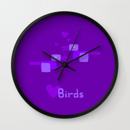 Love Birds-Purple Wall Clock
