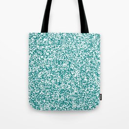 Tiny Spots - White and Dark Cyan Tote Bag