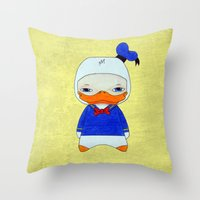 donald duck Throw Pillows featuring A Boy - Donald Duck by Christophe Chiozzi