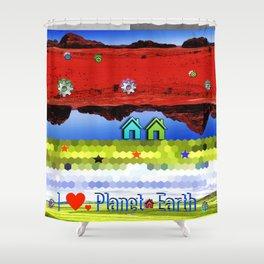 I Heart Planet Earth II Shower Curtain