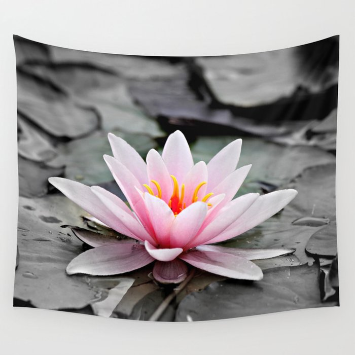 Pink Lotus Flower Waterlily Wall Tapestry By Staypositivedesign