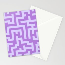 Pale Lavender Violet and Lavender Violet Labyrinth Stationery Cards