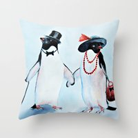 penguin Throw Pillows featuring Penguin by Anna Shell