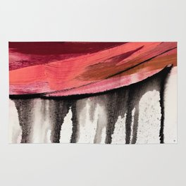 Entangled [4]: a vibrant, colorful abstract mixed-media piece in reds, pinks, black and white Rug