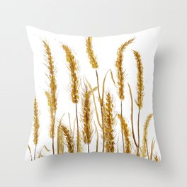 golden wheat field watercolor Throw Pillow