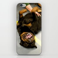 rottweiler iPhone & iPod Skins featuring Happy Rottweiler by Ann Yoo