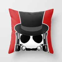 top gun Throw Pillows featuring Gun Face by BuySkullCat