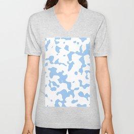 Large Spots - White and Baby Blue Unisex V-Neck