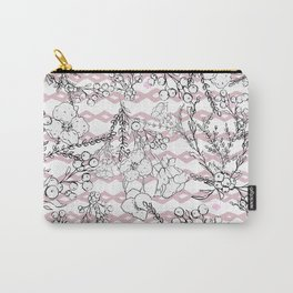 Modern  pink black geometrical floral pattern Carry-All Pouch