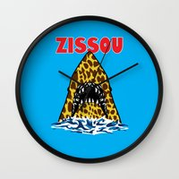 steve zissou Wall Clocks featuring Zissou by Buby87