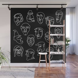 Single Line Face Design - lBlack Version Wall Mural