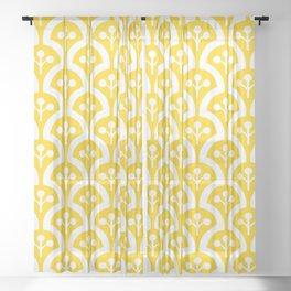 Atomic Mushroom Yellow Sheer Curtain