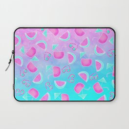 Modern summer tropical watercolor pattern pink turquoise watermelon coconut sunglasses illustration Laptop Sleeve