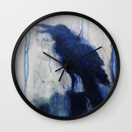 Contemporary Blue Raven Weather Abstract Painting  Wall Clock