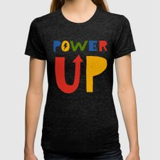 Power Up Tri-Black Womens Fitted Tee LARGE