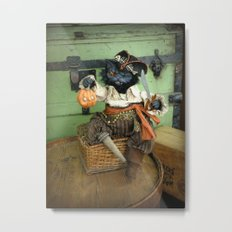 Rucus Studio Halloween Pirate Cat Metal Print