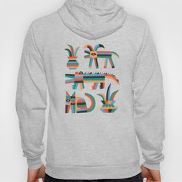 Animal friends chilling with potted plants by Matt Clinard Hoody