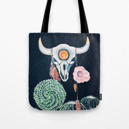 Cow Skull and Cacti on a Wolf Blood Moon Tote Bag