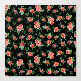 Roses Pattern on Black Background Canvas Print