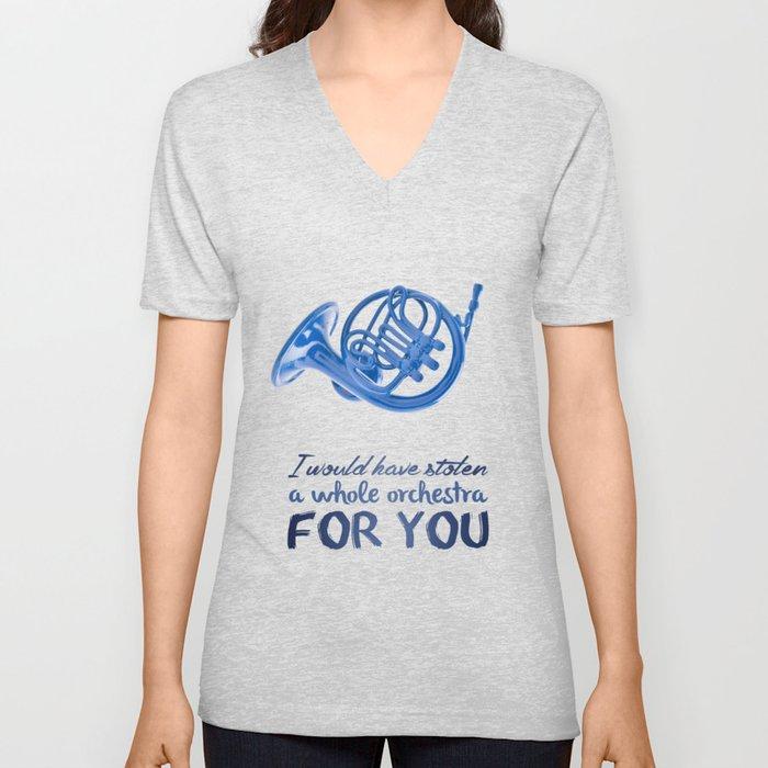 blue french horn / himym Unisex V-Neck