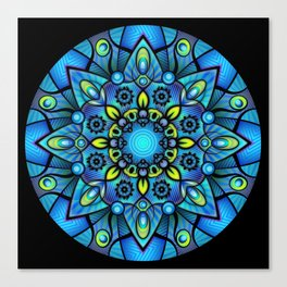 Vivid Blues Mandala Canvas Print