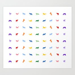 Pretty Colored Horses In A Row Art Print