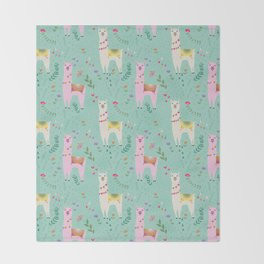 Llama Pattern Throw Blanket
