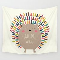 hug Wall Tapestries featuring Give Me A Hug by Andy Westface