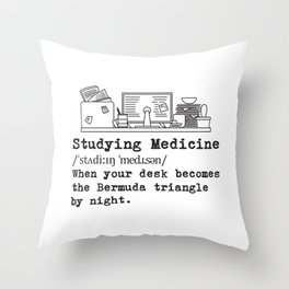 Studying Medicine Messy Desk Gift Throw Pillow