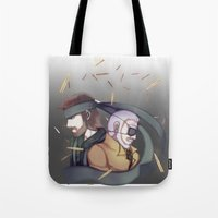 metal gear solid Tote Bags featuring Metal Gear Solid by Kurodoj